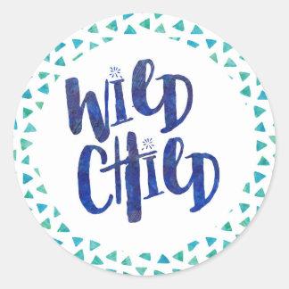 Wild Child Quote Classic Round Sticker
