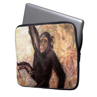 Wild Chimpanzee in Jungle Tree   African Wildlife Laptop Sleeve