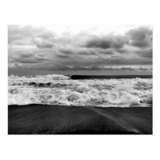 Wild choppy waves of ocean postcard