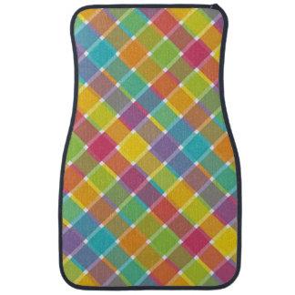 Wild Colored Diagonal Plaid 1 Car Mat