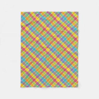 Wild Colored Diagonal Plaid 1 Fleece Blanket