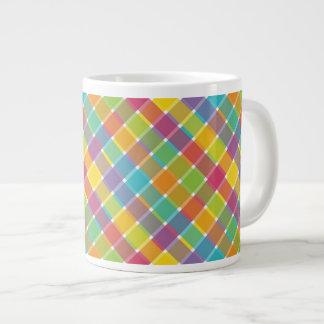 Wild Colored Diagonal Plaid 1 Large Coffee Mug