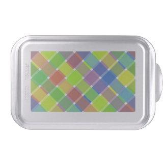 Wild Colored Diagonal Plaid 2 Cake Pan