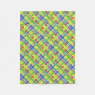 Wild Colored Diagonal Plaid 2 Fleece Blanket
