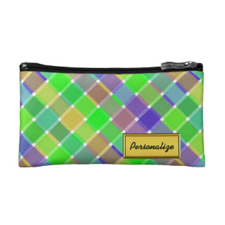 Wild Colored Diagonal Plaid 3 Cosmetics Bags