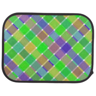Wild Colored Diagonal Plaid 3 Car Floor Mat