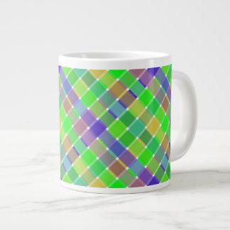 Wild Colored Diagonal Plaid 3 Large Coffee Mug