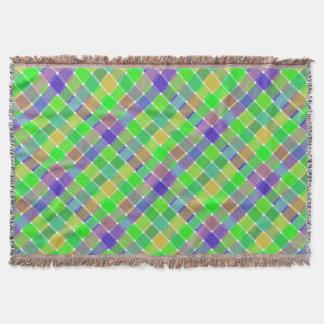 Wild Colored Diagonal Plaid 3 Throw Blanket