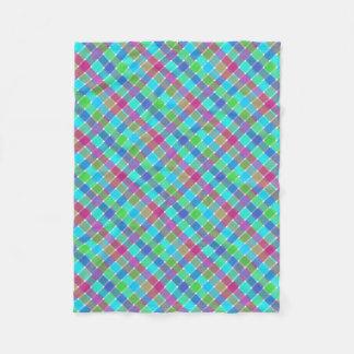 Wild Colored Diagonal Plaid 4 Fleece Blanket