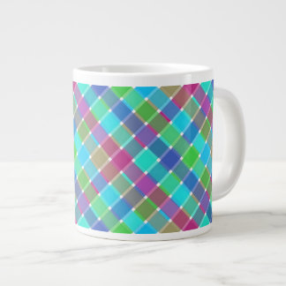 Wild Colored Diagonal Plaid 4 Large Coffee Mug