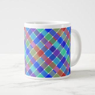 Wild Colored Diagonal Plaid 5 Large Coffee Mug