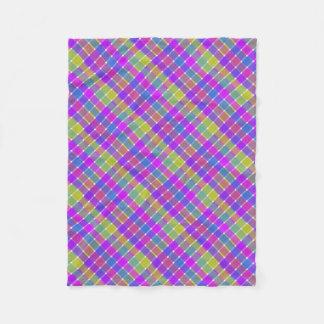 Wild Colored Diagonal Plaid 6 Fleece Blanket