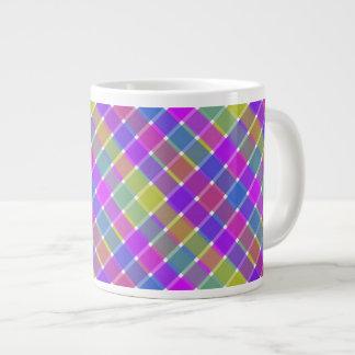 Wild Colored Diagonal Plaid 6 Giant Coffee Mug