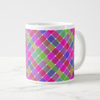 Wild Colored Diagonal Plaid 7 Giant Coffee Mug