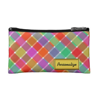 Wild Colored Diagonal Plaid 8 Cosmetics Bags