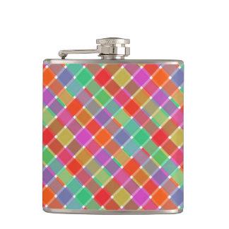 Wild Colored Diagonal Plaid 8 Flask