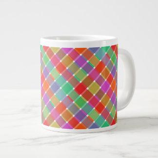 Wild Colored Diagonal Plaid 8 Giant Coffee Mug