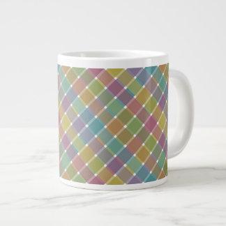 Wild Colored Diagonal Plaid 9 Large Coffee Mug