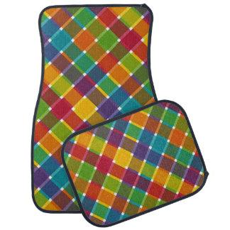 Wild Colored Diagonal Plaid Jewel Tones Car Mat