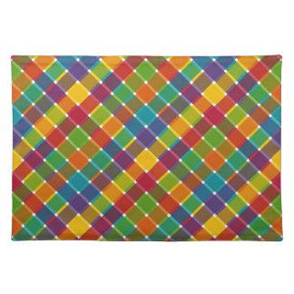 Wild Colored Diagonal Plaid Jewel Tones Cloth Placemat