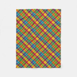 Wild Colored Diagonal Plaid Jewel Tones Fleece Blanket