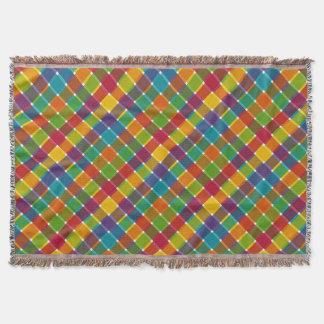 Wild Colored Diagonal Plaid Jewel Tones Throw Blanket