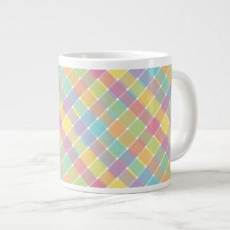 Wild Colored Diagonal Plaid Pastel Giant Coffee Mug