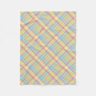 Wild Colored Diagonal Plaid Pastels Fleece Blanket