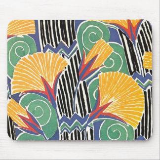 Wild Colorful Art Deco Floral Mousepad