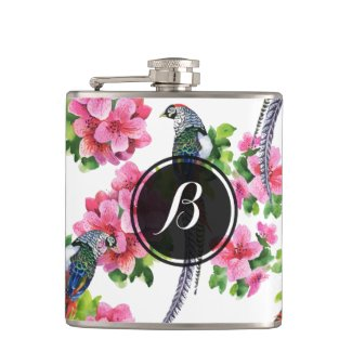 Wild Colorful Pheasant Birds & Flowers Pattern Flasks