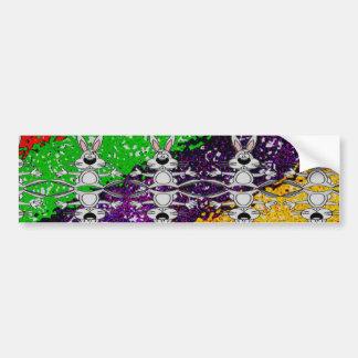 Wild Colorful Rabbit Pattern Bumper Sticker