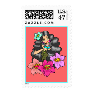 Wild Coral Island Girl Stamps Hibiscus Flowers Lei