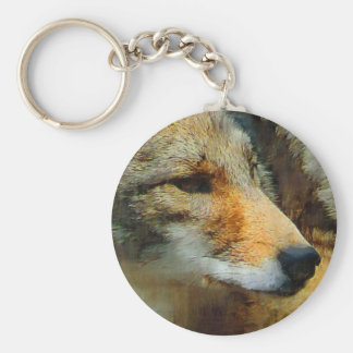 Wild Coyote Photo Painting Basic Round Button Keychain