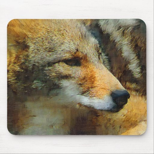 Wild Coyote Photo Painting Mouse Pad