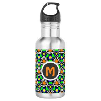 Wild Crazy Triangle Daisy Garden Pattern Monogram Water Bottle