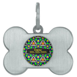 Wild & Crazy Triangle Daisy Garden Pattern Pet Tag