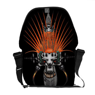 Wild Cyber Skull With Tusks Courier Bag