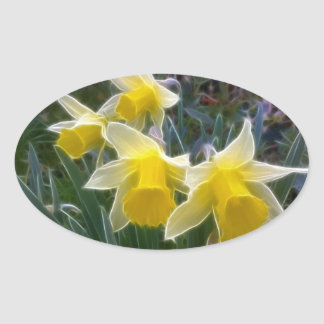 Wild Daffodils Oval Sticker