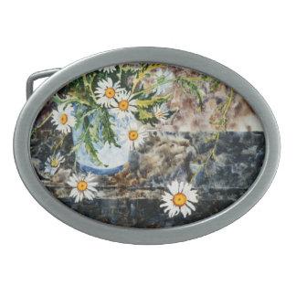 """Wild Daisies on a Shelf"" Floral Belt Buckle"