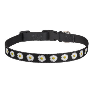 Wild Daisy Pattern in Black and White Pet Collar