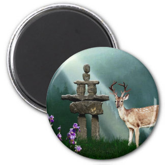 Wild Deer & Inukshuk Wilderness Gift Magnet