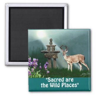 Wild Deer & Inukshuk Wilderness Gift Magnets zazzle_magnet