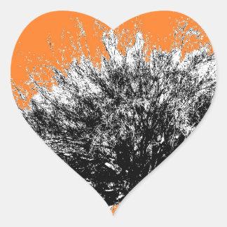Wild Desert Shrub with Orange Heart Sticker