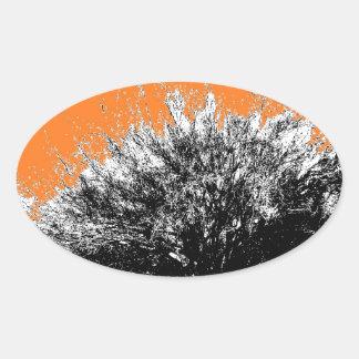 Wild Desert Shrub with Orange Oval Sticker