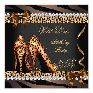 Wild Diva Leopard Zebra High Heels Birthday Party Card
