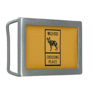 Wild Dog Crossing Place, Sign, Zimbabwe Rectangular Belt Buckle