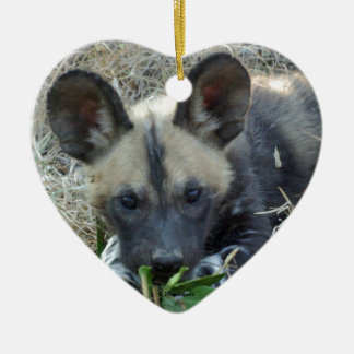 Wild Dog Puppy Ceramic Ornament