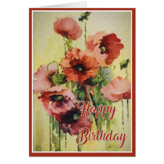 Wild Dog Roses Art Birthday Card