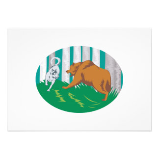 Wild Dog Wolf Fighting Grizzly Bear Personalized Announcements