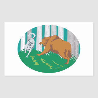 Wild Dog Wolf Fighting Grizzly Bear Rectangular Stickers